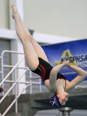Dansville's Katelyn Applin performs a dive at the NYSPHSAA
