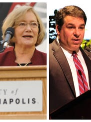 Left: Former UIndy president Beverley Pitts. Right: