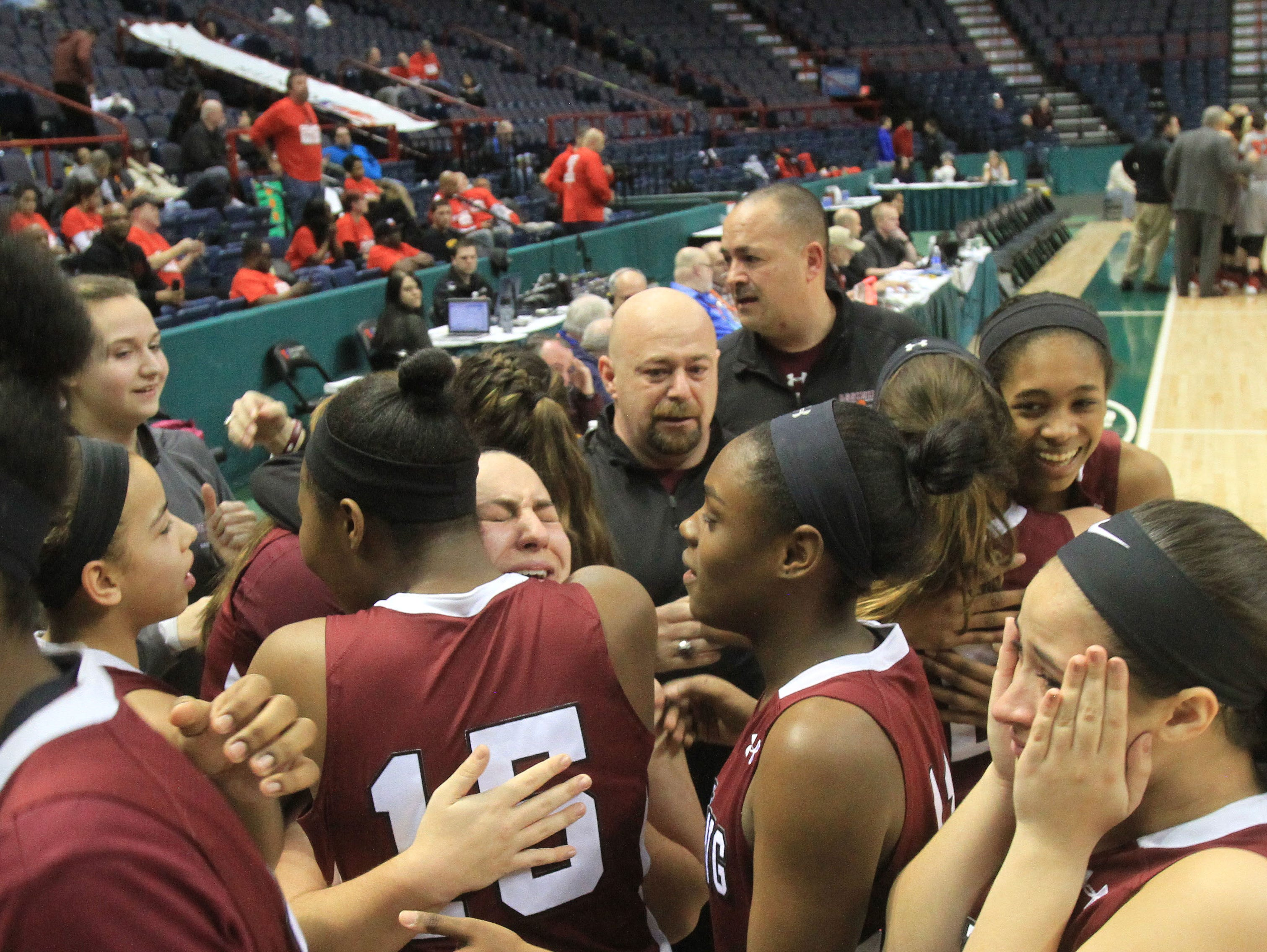 Ossining defeated Long Island Lutheran 64-54 in the girls Class A final of the New York State Federation Tournament of Champions at the Times Union Center in Albany March 19, 2016.
