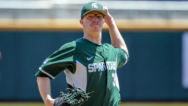 MSU pitcher Cam Vieaux (36) allowed three hits over 8 2/3 innings as the Spartans defeated Nebraska 5-1 in their Big Ten Baseball Tournament opener  at TD Ameritrade Park in Omaha, Nebraska.