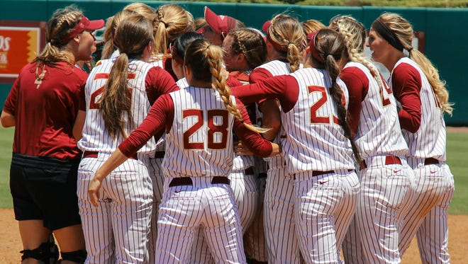 Florida State celebrates after advancing to its fourth straight Super Regional.