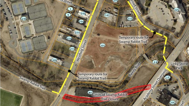 A map of the detour put in place while sewer work is done on a portion of the Swamp Rabbit Trail