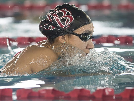 Flour Bluff's Leah Collins competes in the girls 200 yard individual medley during the Region VIII-5A swim meet at the Corpus Christi Independent School District's Natatorium on Saturday, Feb. 3, 2018.