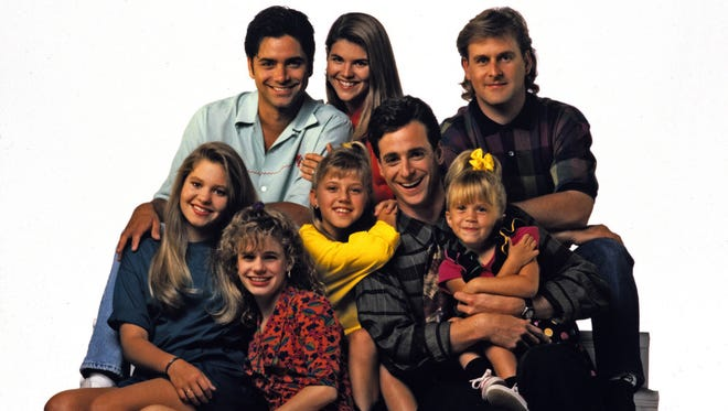 "The cast of ""Full House."" Back row, left: John Stamos (Jesse), Lori Loughlin (Rebecca), Dave Coulier (Joey); front row: Candace Cameron (D.J.), Andrea Barber (Kimmy), Jodie Sweetin (Stephanie), Bob Saget (Danny) and Mary Kate Olsen (Michelle)."