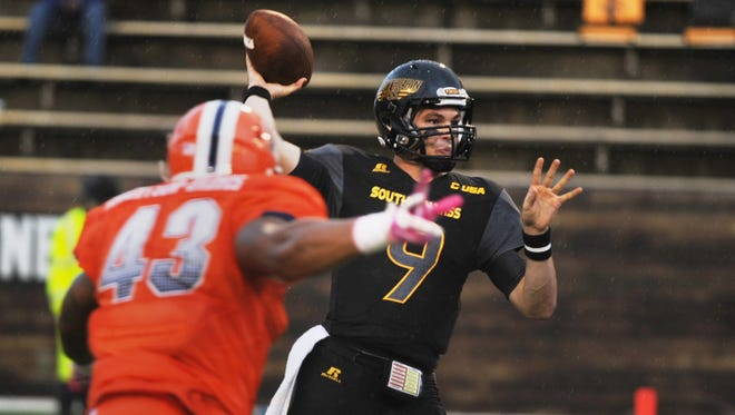University of Southern Mississippi quarterback Nick Mullens throws a pass against UTEP during an NCAA college football game Saturday, Oct. 31, 2015, in Hattiesburg, Miss.