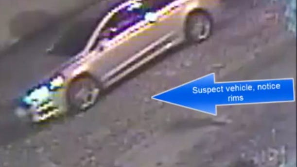 Authorities say the car driven in an Elm Street shooting was a gray or silver Hyundai Sonata.