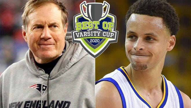 New England Patriots coach Bill Belichick, left, and Golden State Warriors star Stephen Curry have joined the lineup for the Best of Varsity Cup online awards show June 18 at GoErie.com/VarsityCup.
