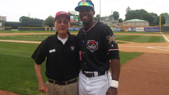 Longtime usher Ray Cantor poses with former Erie SeaWolves player Wynton Bernard at UPMC Park. Cantor died Friday, July 10, 2020, at the age of 86.