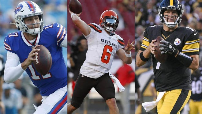 Quarterbacks will be key this season as the Buffalo Bills' Josh Allen, left, Cleveland Browns' Baker Mayfield, center, and Pittsburgh Steelers' Ben Roehtlisberger look to lead their teams to the playoffs.