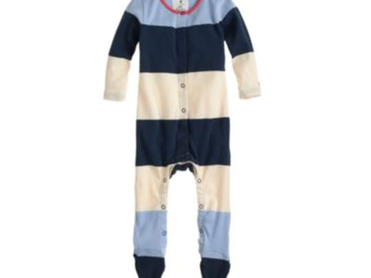Snaps on J. Crew baby coveralls can detach, posing a choking hazard to young children.