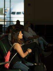 Alexandra Abrisqueta prepares to board an Eurowings