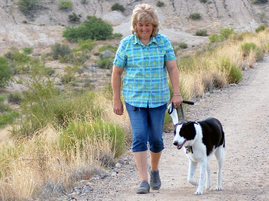 Artist Kathy Morrow and her dog Bandit are always on