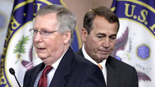 Sen. Mitch McConnell of Kentucky, the incoming majority leader (left), and House Speaker John Boehner have an agenda for legislation they hope to pass once the GOP takes control in the U.S. Senate in January. Some of their goals will be easier than others to achieve.