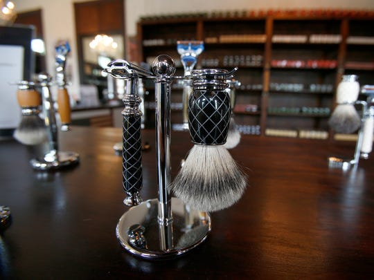 Some of the products at The New York Shaving Co.'s Freehold manufacturing and retail store.