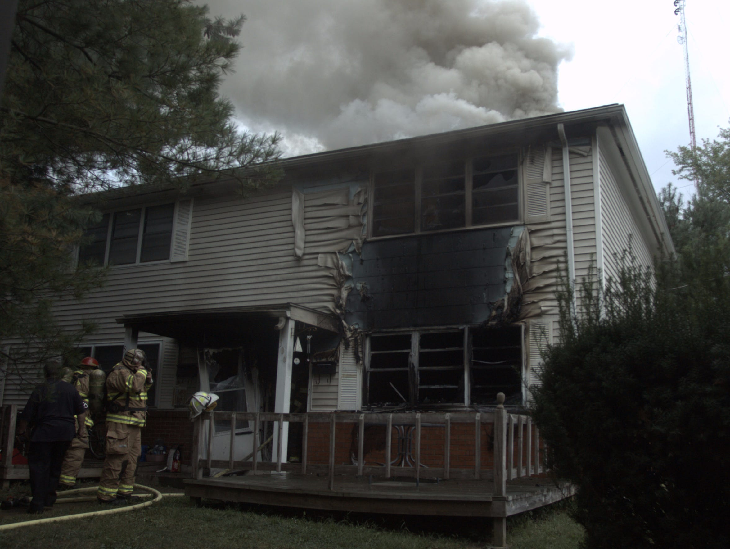 Chillicothe firefighters work to extinguish the fire