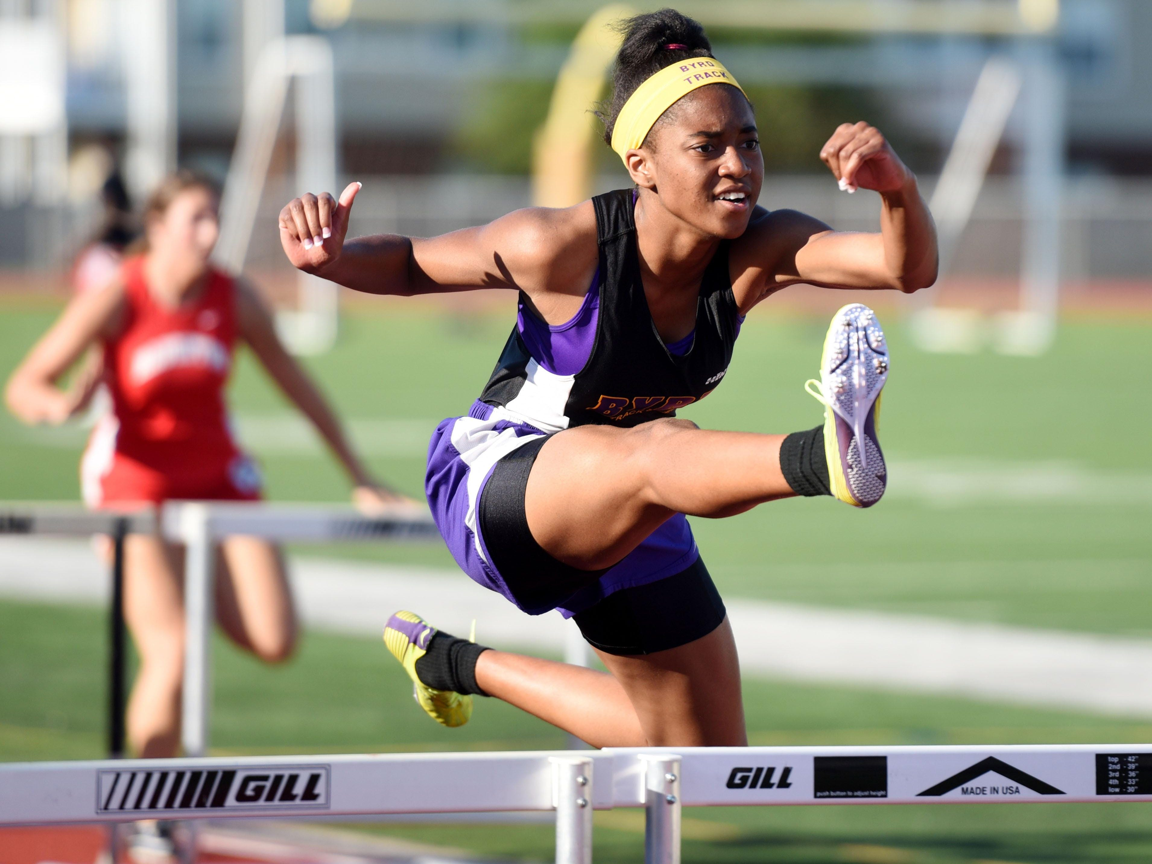 Kyah Lloyd at the district 1-5A boys and girls track meet at Lee Hedges Stadium.