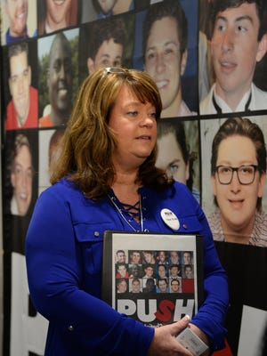 Cindy Hipps of Piedmont remembers her son Tucker Hipps, who she says died from hazing at Clemson University, during the #PUSH Parents Anti-Hazing Retreat at the Hampton Inn in Greenville.