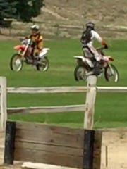 Two dirt bikers are seen riding at Gator Swamp Park in Spanish Springs, causing damage to the park's turf. Washoe County deputies are searching for four bikers who violated county codes on property damage and off-roading.