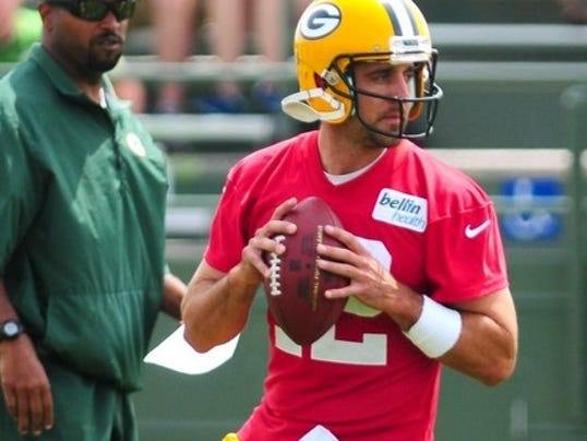 Aaron Rodgers in training camp