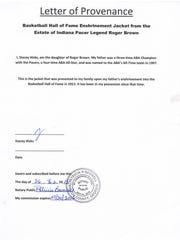 Letter of provenance for Roger Brown's Hall of Fame jacket.