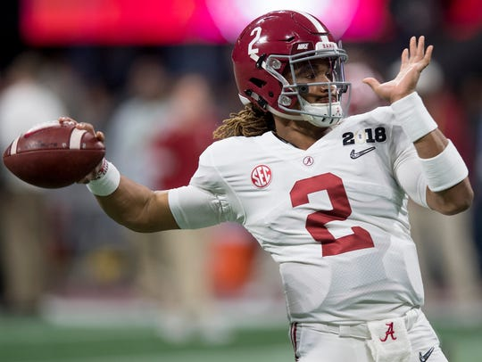 Alabama quarterback Jalen Hurts warms up before January's national championship game in Atlanta.