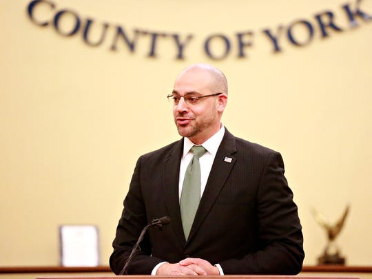 York County District Attorney Dave Sunday speaks during the press conference kickoff for the York County Reentry Coalition at the York County Administrative Center in York City, Tuesday, April 24, 2018. Dawn J. Sagert photo