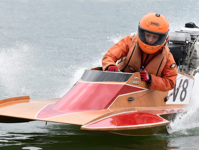 Courtney Sanders, 18, of Centralia, Ill., takes a practice run Friday at the Buzz on Pigeon Creek National Boat Racing Championships. Races start at noon Saturday.