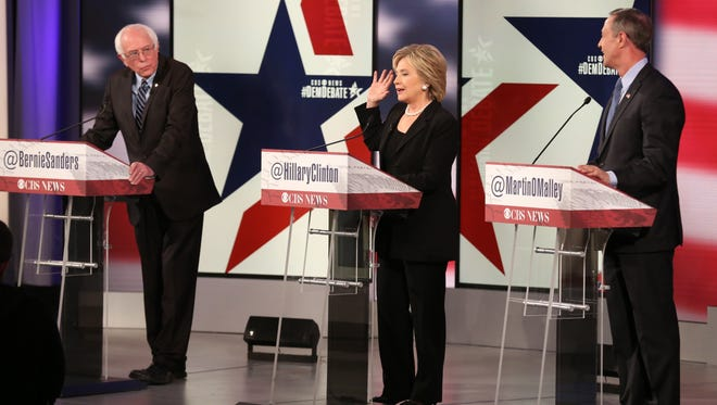 Democratic presidential debate between Sen. Bernie Sanders, I-Vt,, Hillary Rodham Clinton and former Maryland Gov. Martin O'Malley, Saturday, Nov. 14, 2015, in Des Moines, Iowa, at Sheslow Auditorium on the campus of Drake University.