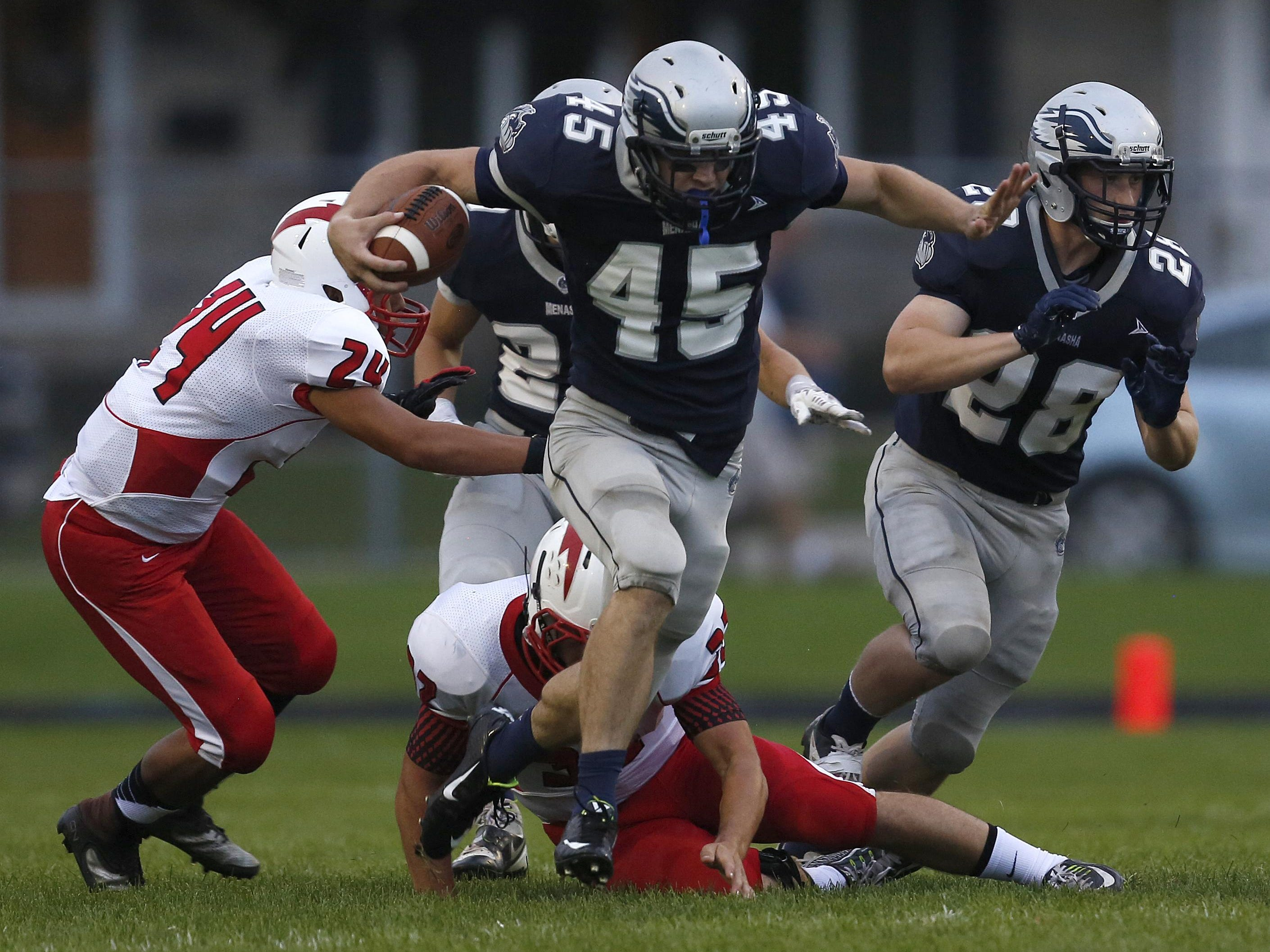 Austin Behm (45) is one of five Menasha players scheduled to play in Saturday's all-star game.