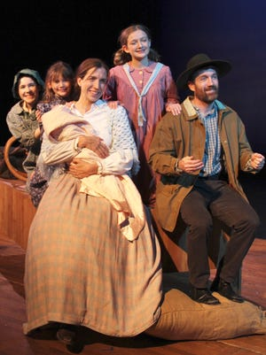 "Claire Zempel (from left), Bethany Philomena Provan, Heather Lenox, Grace Provan and Simon Jon Provan appear in Acacia Theatre Company's production of ""A Laura Ingalls Wilder Christmas."""