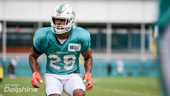 Safety Brandon Jones (29) during Dolphins training camp.