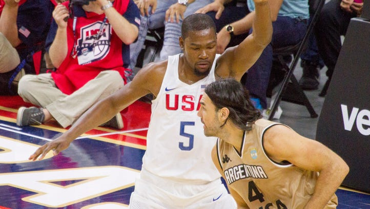 The USA Basketball Men's National Team defeats Argentina 111-74 at the T-Mobile Arena in Las Vegas Friday, July 22, 2016.