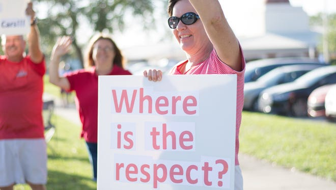 Teachers were on Judge Fran Jamieson Way infront of the school board in Viera protesting the superintendents five percent raise.
