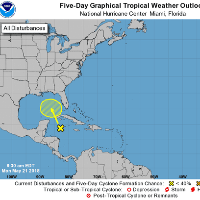 Updated: Tropical disturbance identified, forecast to move into Gulf