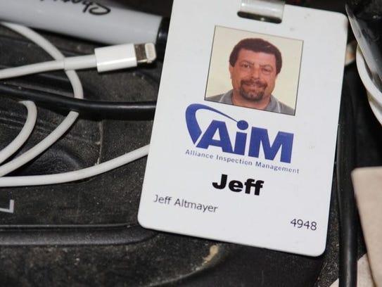 Jeff Altmayer's work badge for Alliance Inspection