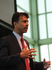 Louisiana Gov. Bobby Jindal discusses the need to increase funding to the U.S. military during the Iowa National Security Action Summit in Waukee on Saturday.
