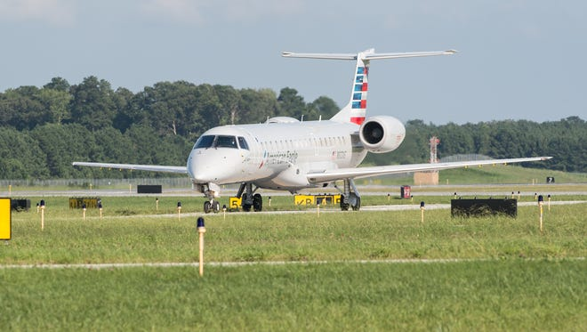 An Embraer-145 approaches the terminal at Salisbury Airport during the first commercial jet arrival on Tuesday, Aug. 22, 2017.