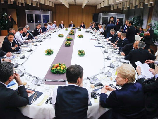European Union heads of state at dinner during an EU