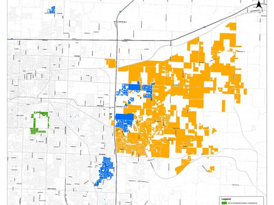 Map shows where smart meters have and will be installed.