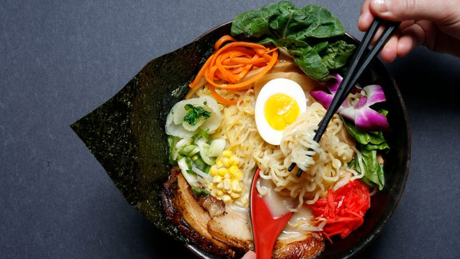 Tonkotsu ramen at Roc-N-Ramen in New Rochelle can be customized with toppings of your choice.