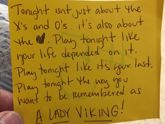Lyndzee McConathy's note to her team.