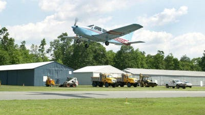 A plane takes off from Delaware Airpark. The state's two senators have secured funds to upgrade the airport.