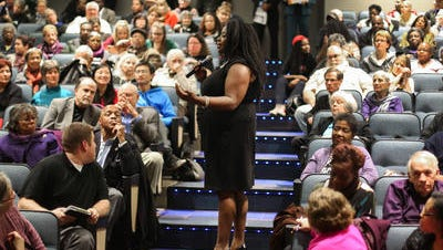 Betty C. Andrews, president was a moderator during a panel discussion on racial profiling in Iowa on Tuesday, December 7, Dec. 7, 2015, at Sussman Theater on the campus of Drake University in Des Moines.