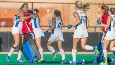 Great Nauck is mobbed by teammates after scoring the game-winning goal at Duke Sunday.