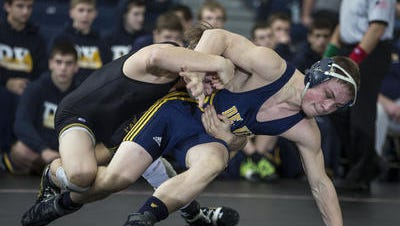 Delaware Valley's Connor Mills wrestles Hanover Park's Lou Ramo at 132 pounds during their Group II final on Sunday in Toms River.