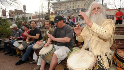 A scene from the drum circle downtown earlier this year.