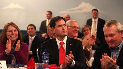 Florida U.S. Sen. Marco Rubio was the guest of honor for Iowa Gov. Terry Branstad's birthday celebration at Adventureland Park in Altoona in November 2012.