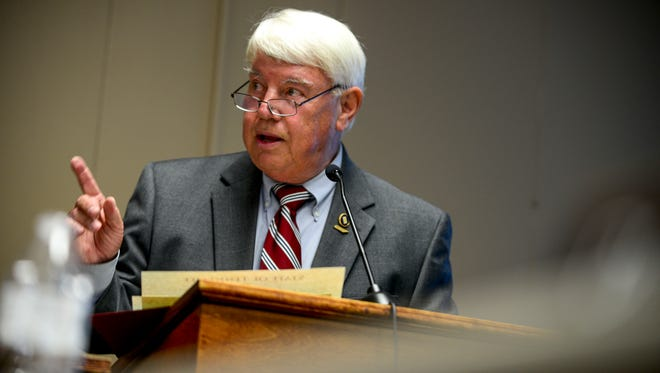 Jimmy Eldridge speaks at the podium at a board meeting at Jackson-Madison County Board of Education in Jackson, Tenn., Thursday, Aug. 9, 2018.