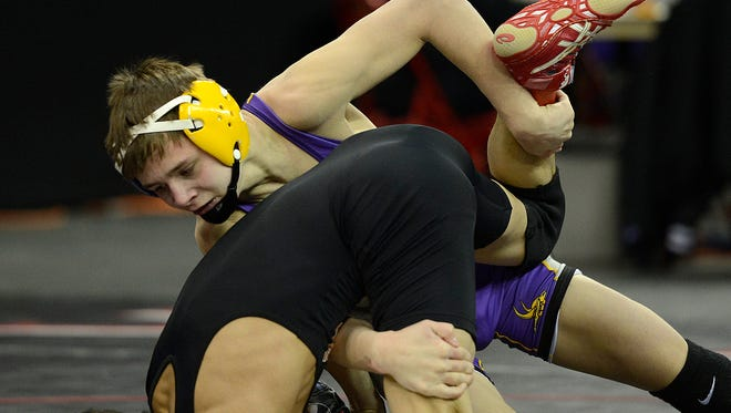 Denmark's Brock Bergelin, shown at last year's WIAA individual state tournament, won a decision over Stratford's A.J. Schoenfuss  on Saturday in  a matchup between a pair of 2015 state champions.