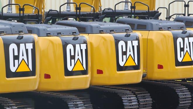 Excavators on the parking area at the Caterpillar plant in Gosselies, Belgium.